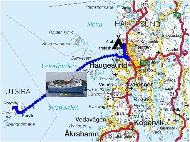 kart utsira Torstein Reiersen   Bergen   Stavanger   august 2004 kart utsira