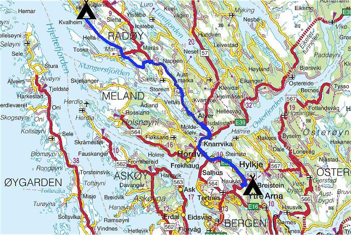 kart over nordhordland Torstein Reiersen   Trondheim   Bergen år 2001 kart over nordhordland