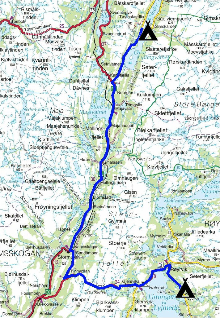 namsskogan kart Torstein Reiersen: Mosjøen   Tromsø   Nesna   Hattfjelldal  namsskogan kart