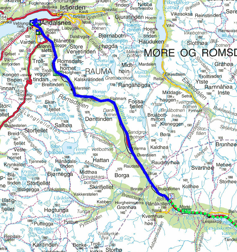 glåmos kart Torstein Reiersen: Gjennom Romsdalen, Berkåk   Svorkmo   Støren og  glåmos kart
