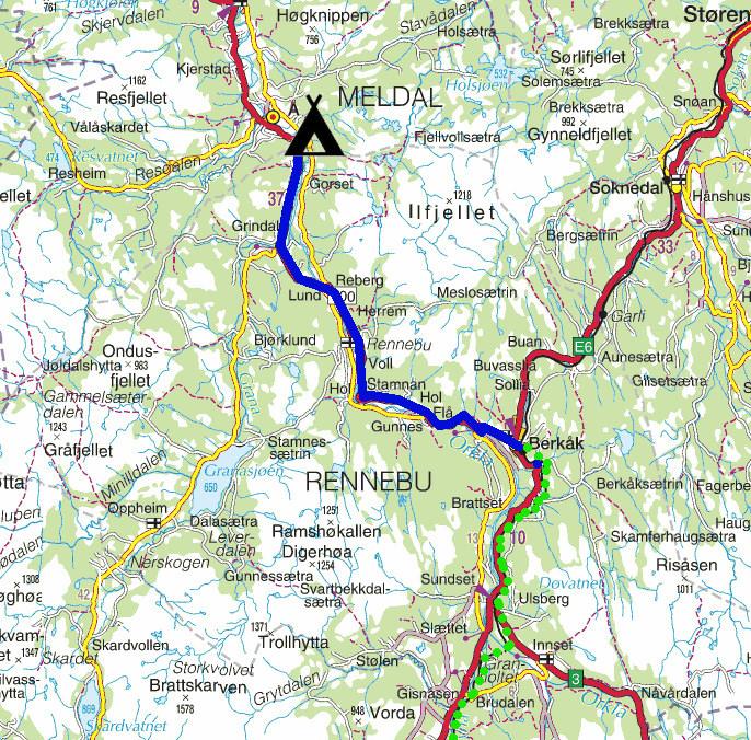 berkåk kart Torstein Reiersen: Gjennom Romsdalen, Berkåk   Svorkmo   Støren og  berkåk kart