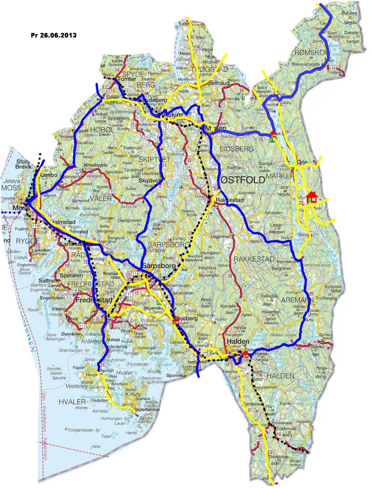 oslo fylke kart Torstein Reiersen: Fylker/Sykkelturer oslo fylke kart