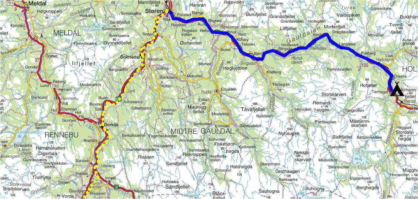 kart sjoa Torstein Reiersen: Indre Østland kart sjoa