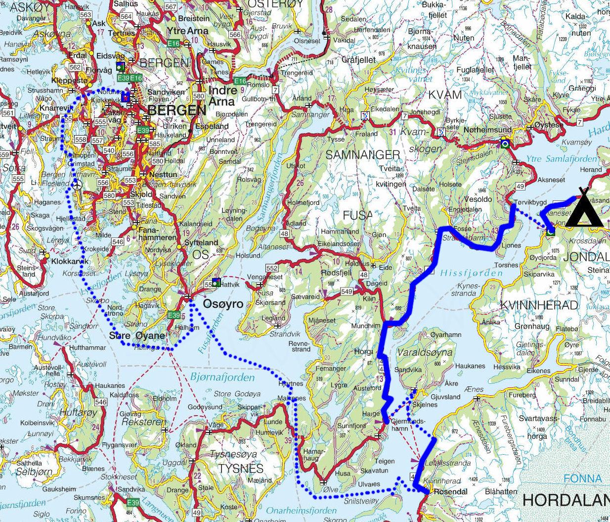 kart over åmot Torstein Reiersen: Bergen   Rosendal   Odda   Sauda   Haukeli  kart over åmot