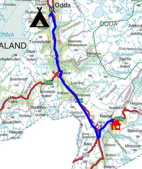 kart over røldal Torstein Reiersen: Bergen   Rosendal   Odda   Sauda   Haukeli  kart over røldal